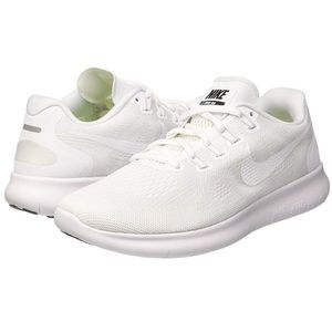 Nike Free RN Womens White Fly Knit Running Shoes